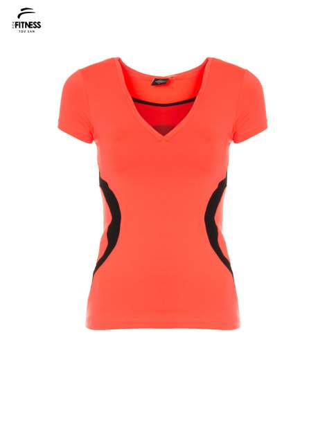 Fluoróżowy termoaktywny t-shirt sportowy z siateczką przy dekolcie ♦ Performance RUN                              zdj.                              2