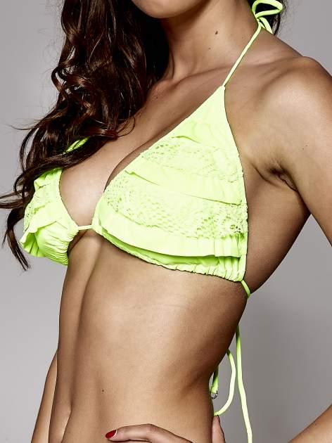 Fluozielone koronkowe figi od bikini wiązane po bokach                                  zdj.                                  4