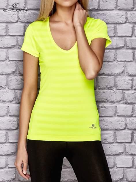Fluożółty damski t-shirt sportowy w paski