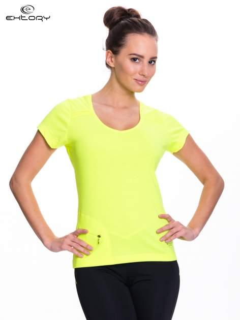 Fluożółty t-shirt sportowy z kieszonką na suwak PLUS SIZE