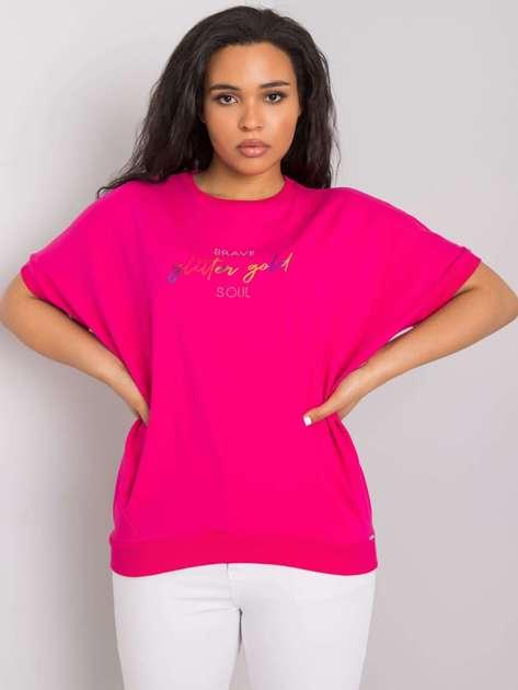 Fuksjowa bluzka plus size z napisem Jewel