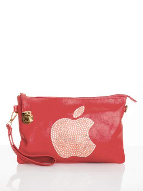 Fuksjowa kopertówka z dżetami motyw apple