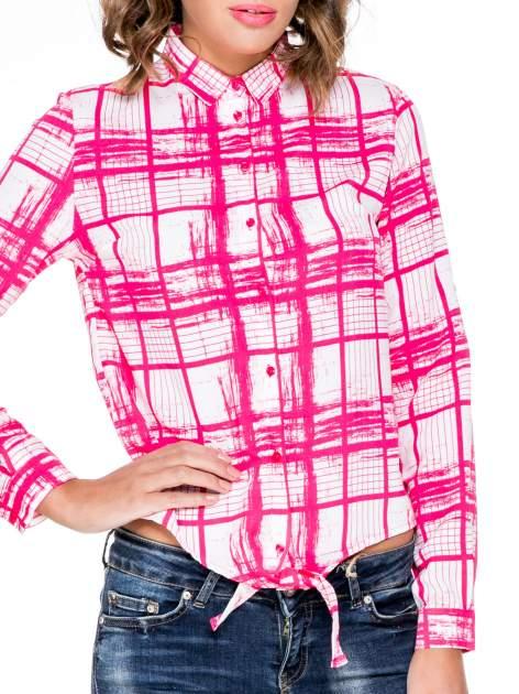 Fuksjowa koszula w kratę wiązana na dole                                  zdj.                                  7
