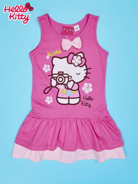 Fuksjowa sukienka dla dziewczynki z kokardką HELLO KITTY                                  zdj.                                  1
