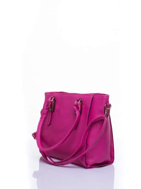 Fuksjowa torba shopper bag z odpinanym paskiem                                  zdj.                                  3