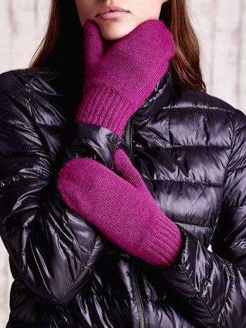 Fuksjowe gładkie rękawiczki z jednym palcem                                  zdj.                                  2