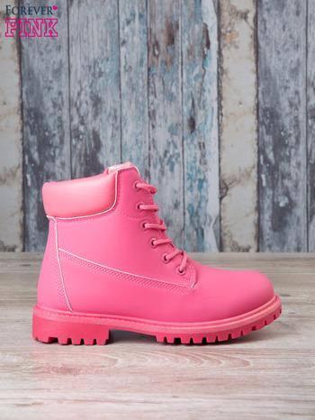 Fuksjowe jednolite buty trekkingowe damskie Westie traperki ocieplane