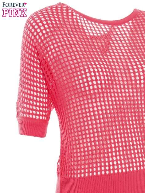 Fuksjowy ażurowy sweter oversize                                  zdj.                                  6