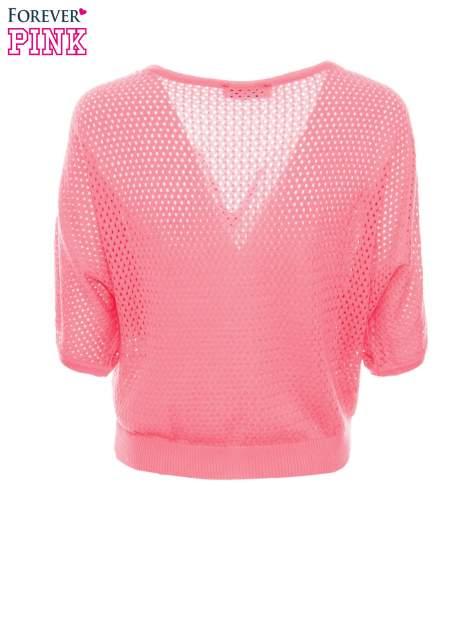 Fuksjowy siateczkowy sweter oversize                                  zdj.                                  7