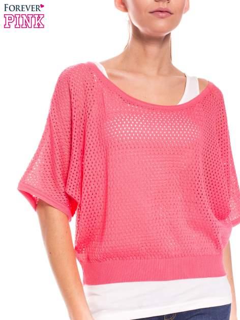 Fuksjowy siateczkowy sweter oversize                                  zdj.                                  5