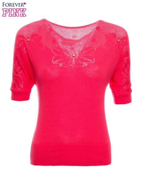 Fuksjowy sweter z ażurową górą i krótkim rękawkiem                                  zdj.                                  2