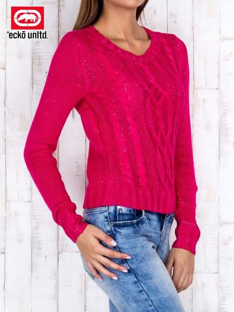 Fuksjowy sweter ze srebrną nicią                                  zdj.                                  3