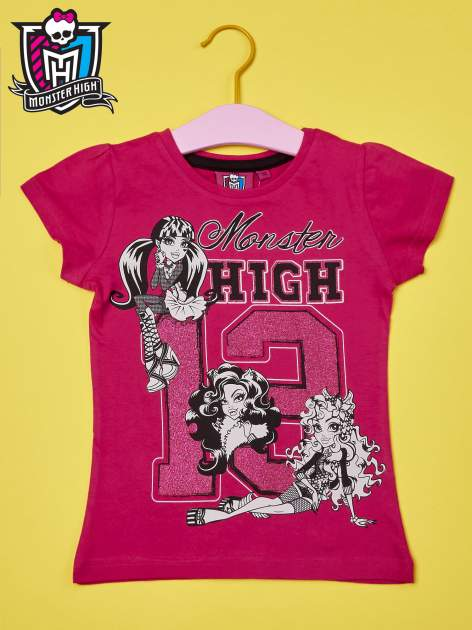 Fuksjowy t-shirt dla dziewczynki MONSTER HIGH z brokatowym nadrukiem                                  zdj.                                  1