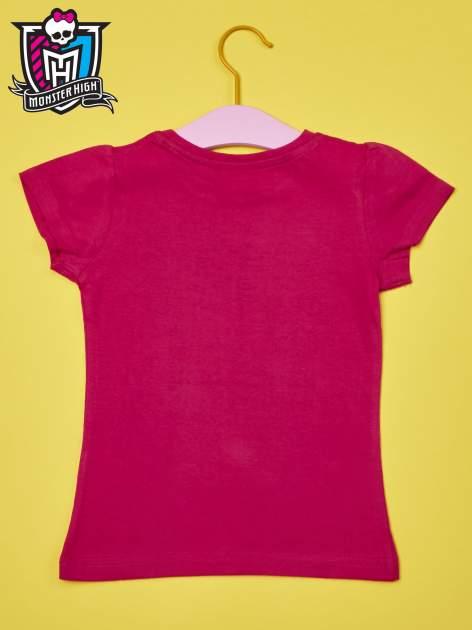 Fuksjowy t-shirt dla dziewczynki MONSTER HIGH z brokatowym nadrukiem                                  zdj.                                  2