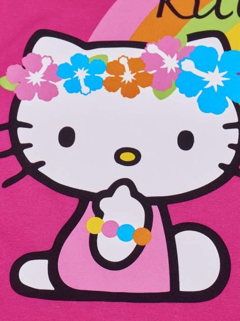 Fuksjowy t-shirt dla dziewczynki nadruk HELLO KITTY                                  zdj.                                  4