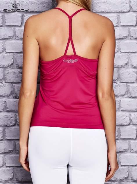 Fuksjowy top sportowy z siateczką i ramiączkami w kształcie litery T na plecach                                  zdj.                                  2