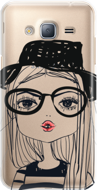 Funny Case ETUI SAMSUNG J3 2016 GIRL WITH PINK LIPS