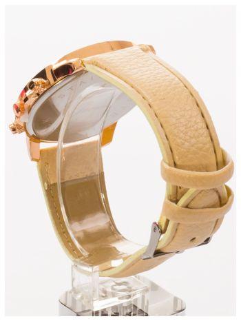 GENEVA Beżowy zegarek damski na skórzanym pasku                                  zdj.                                  4