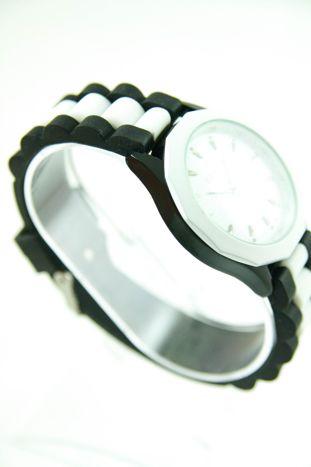 GENEVA Bialo-czarny zegarek damski na silikonowym pasku                                   zdj.                                  2