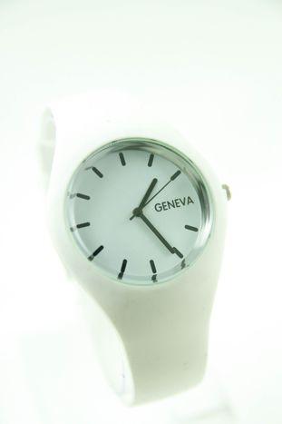 GENEVA Biały zegarek damski na silikonowym pasku