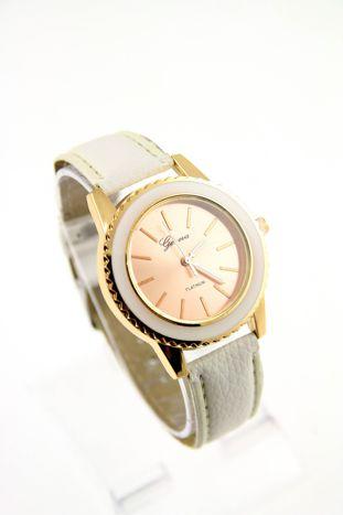 GENEVA Biały zegarek damski na skórzanym pasku                                  zdj.                                  1