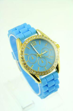 GENEVA Błękitny zegarek damski z cyrkoniami na silikonowym pasku                                  zdj.                                  1