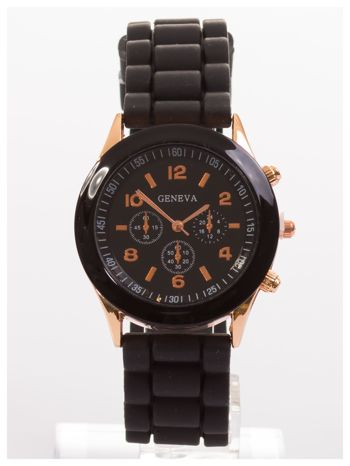GENEVA Czarny zegarek damski na silikonowym pasku                                  zdj.                                  1