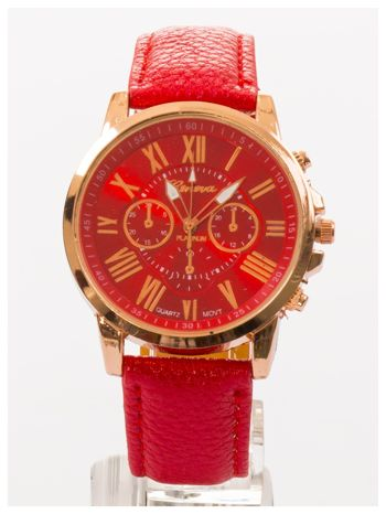 GENEVA Czerwony zegarek damski na skórzanym pasku                                  zdj.                                  3