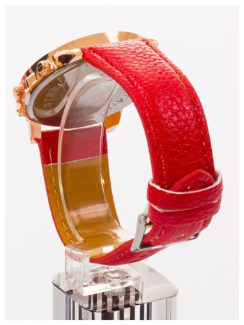 GENEVA Czerwony zegarek damski na skórzanym pasku                                  zdj.                                  4