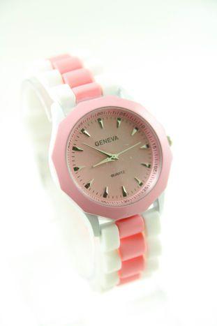 GENEVA Jasnoróżowo-biały zegarek damski na silikonowym pasku                                  zdj.                                  1