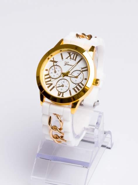 GENEVA Modny biały damski zegarek ze złotym łańcuszkiem na pasku                                  zdj.                                  2