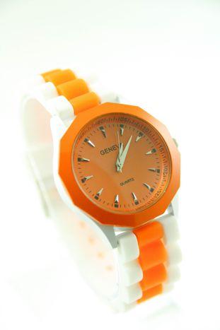 GENEVA Pomarańczowo-biały zegarek damski na silikonowym pasku                                   zdj.                                  1