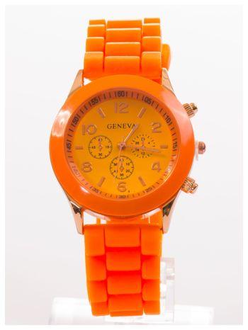GENEVA Pomarańczowy zegarek damski na silikonowym pasku                                  zdj.                                  1