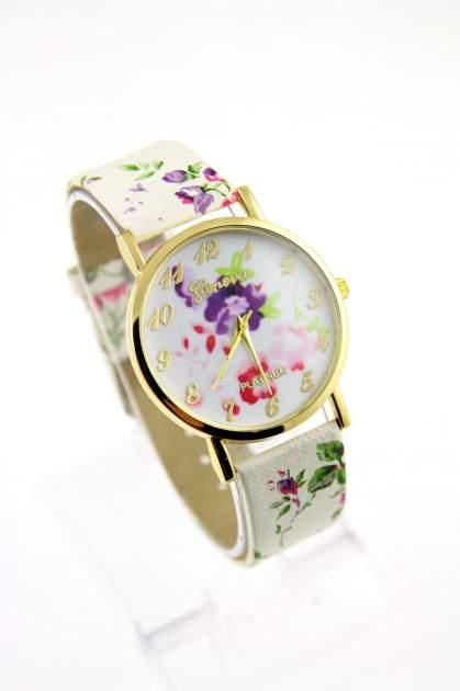 GENEVA Wielokolorowy zegarek damski w stylu retro na skórzanym pasku