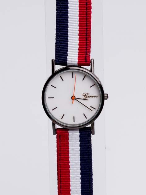 GENEVA Zegarek unisex z modnym materiałowym kolorowym paskiem                                  zdj.                                  3