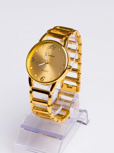 GENEVA Złoty gustowny  zegarek damski na złotej bransolecie                                  zdj.                                  2