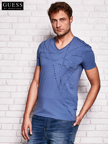 GUESS Ciemnoniebieski t-shirt męski z abstrakcyjnym nadrukiem                                  zdj.                                  3