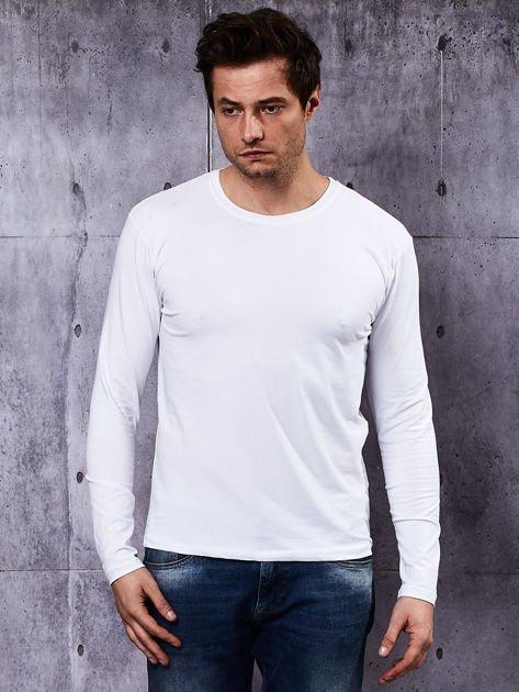 Gładka bluzka męska biała z długim rękawem                              zdj.                              2