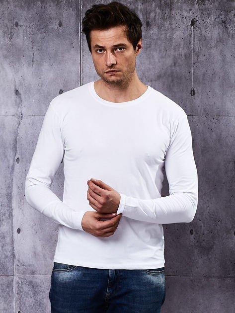 Gładka bluzka męska biała z długim rękawem                              zdj.                              5