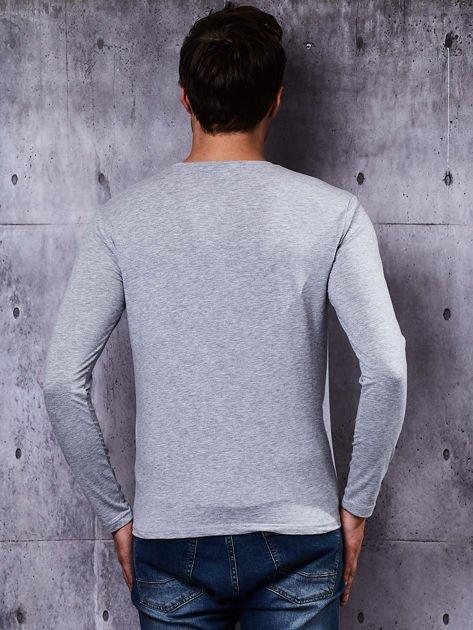 Gładka bluzka męska szara z długim rękawem                              zdj.                              3