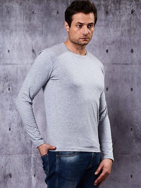 Gładka bluzka męska szara z długim rękawem                              zdj.                              7