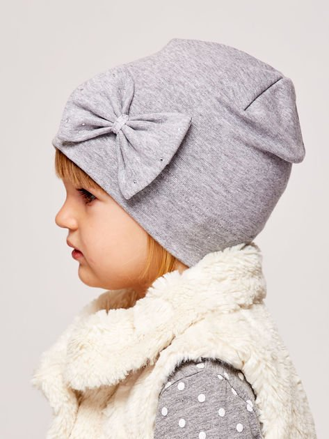 Gładka dziewczęca czapka z ozdobną kokardką szara                              zdj.                              4