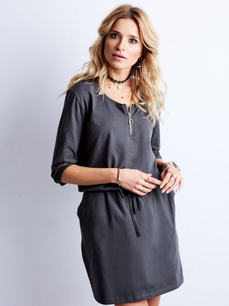 Grafitowa bawełniana sukienka z kieszeniami                              zdj.                              1