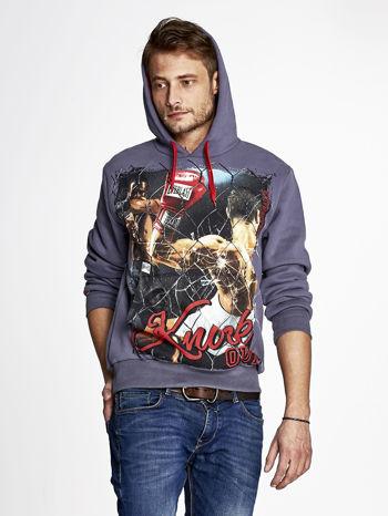 Grafitowa bluza męska z bokserskim nadrukiem                                  zdj.                                  5