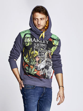 Grafitowa bluza męska z kapturem z nadrukiem reggae                              zdj.                              5