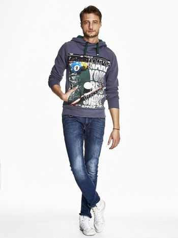 Grafitowa bluza męska z napisem MAKE YOUR BEST SHOUT                              zdj.                              4
