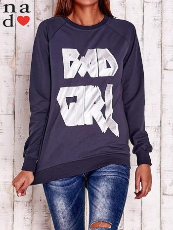 Grafitowa bluza z napisem BAD GIRL