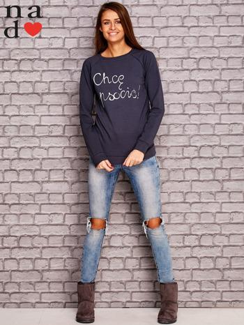 Grafitowa bluza z napisem CHCĘ PSOCIĆ                                  zdj.                                  2