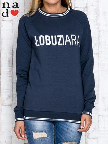 Grafitowa bluza z napisem ŁOBUZIARA