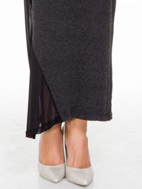 Grafitowa maxi sukienka z asymetryczną wstawką na dole z tiulu                                  zdj.                                  10